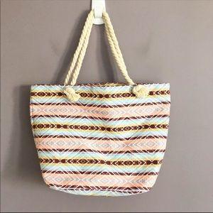 Handbags - Aztec Striped Canvas Beach Tote